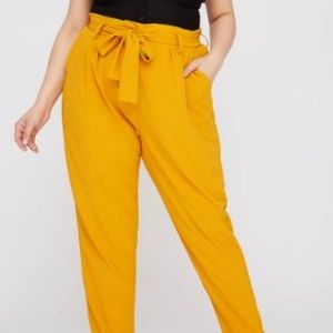 Charlotte Russe High Rise Belted Pants - Mustard